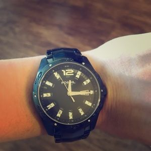 Fossil black and zirconia watch